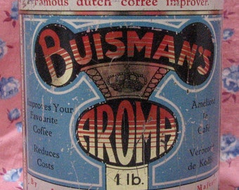 1930s Buismans Aroma coffee additive tin . Lovely art deco style graphics