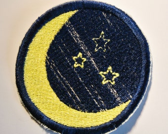 Moon and Stars Patch Great Jeans Backpack Messenger Bag or Jacket Patch Custom Available