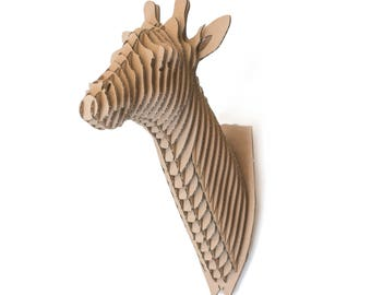 Oliver  - cardboard giraffe head trophy - 3D Puzzle DIY Kit Paper recycled sculptur animal wall decor gift