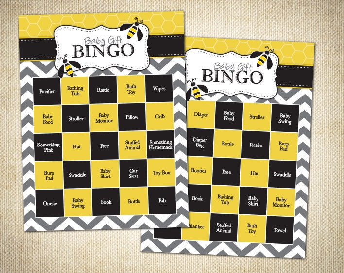 Bumble Bee Themed Baby Shower Bingo Cards Instant Download