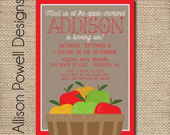 Apple Picking Party, Apple Birthday, Fall Party Birthday Party,  Party Invitations - DIY or Printed