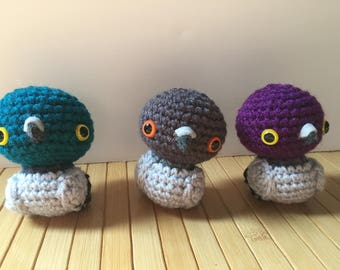 Pigeon Amigurumi - Rock Dove Doll - With a Keychain or Ornament Options Available