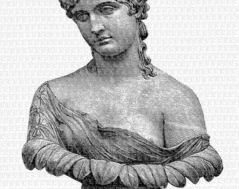 Woman Bust Sculpture Greek Roman Classical Art Instant Download 2094