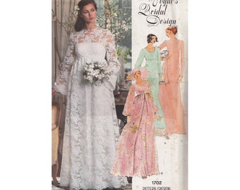 Boho Wedding and Bridal Party Dresses Vogue 1702 High Waist Bell Sleeves Overskirt Floor Length Bust 31.5 UNCUT 1970s Sewing Pattern