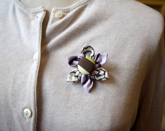 Pale Purple and Brown Fabric Flower Brooch, Flower Pin - Handmade Fabric Flower