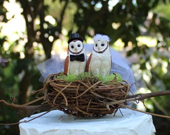 Owl Wedding Cake Topper with Twig Moss Nest, Bride and Groom, Barn Wedding, Bird Cake Topper, Rustic, Whoot Owls, Anniversary Cake Topper