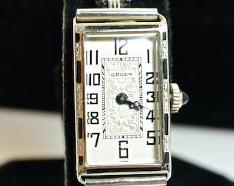 Vintage Womens 18k White Gold Gruen Watch