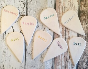 Ceramic Kitchen Herb Markers - set of 5