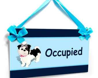 occupied / avilable - dog and cat themed veterinary office two sided door hanger - SD121