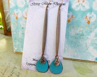 Long copper turquoise stick earrings boho enamel jewelry
