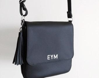 Initial crossbody purse, Vegan bag crossbody black, Initial handbag, Personalized leather