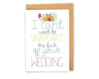 Funny wedding card, congratulations love card wedding, gift engagement marriage card best friend card goals married snapchat