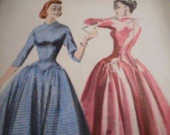 Vintage 1950's Butterick 7555 Dress Sewing Pattern Size 16 Bust 34