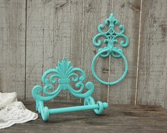 Bathroom Set, Aqua, Bath Tissue Holder, Towel Ring, Shabby Chic, Hand Painted, Cast Iron, Toilet Paper Holder, French Decor, Bathroom Decor