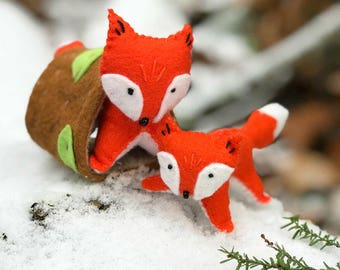 Foxes Sewing Kit, Felt Fox Craft Kit, Orange Foxes with Tree House, Fox Ornament, Beginner Sewing Kit, 'Frisky Foxes' Heidi Boyd