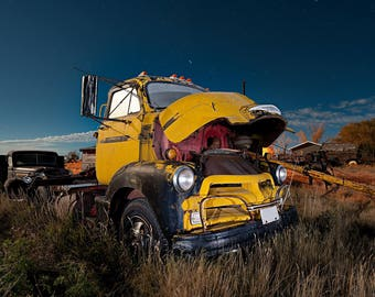 Vintage Truck, Yellow Truck, Vintage Cabover, Abandoned Truck, Vintage Farm Truck, Rural Landscape, Wall Decor, Truck, Night Photograph