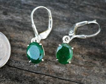 Emerald Earrings - Emerald Leverback Earrings - May birthstone - Sterling Silver Emerald  - Natural Emerald earrings - Emerald Jewelry - May