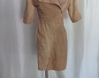 Vintage 80s dress, womens size S M, steampunk, studded, tan brown mustard, short sleeve, summer zip up