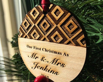 Our First Christmas as Mr and Mrs Ornament - Personalized Wood Newlywed Holiday Ornament - Just Married - Custom Text - SKU#8B