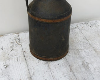 Small Vintage Black Metal Milk Can