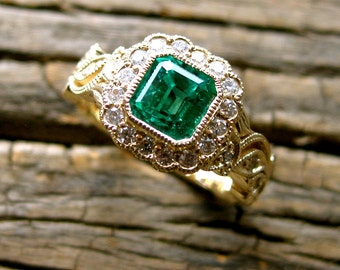 Vine Engagement Ring in 14K Yellow Gold with Natural Emerald Diamonds in Flowers & Leafs Size 4