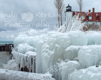 Icy Point Betsie Lighthouse on Lake Michigan in Frankfort Michigan