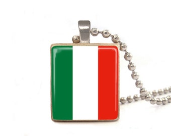Italian Flag Necklace, Italy Necklace, Italy Pendant, Flag Jewelry, Wood Necklace, Game Piece Jewelry, Tile Necklace, Italian Flag Charm