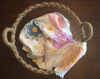 White Flower Garden Quilt Top Layer/ White Flower Garden Quilt Top Piece/ White Flower Garden Cutter Quilt Piece