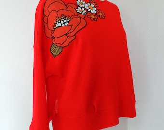 Geranium red knit sweater and seventies flower appliques / by classy *.