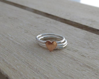 Heart stacking ring set Copper heart stacking ring set Copper heart ring Heart ring Silver stackable rings Stacking ring set with heart