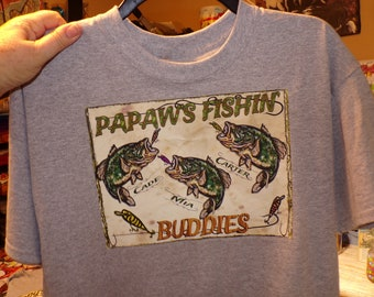 GRANDPA'S FISHING BUDDIES Personalized Fishing T Shirt Kid's Names Added Free! Perfect Gift for the Fisherman on your List! All Sizes S-3X
