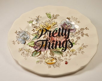 Beautiful personalized ring plate, ring dish, trinket dish, vintage plate, gift for her, bridal shower, wedding gift