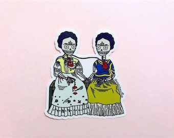 "Frida Kahlo Vinyl Sticker - Dia De Los Muertos / Day of the Dead - ""Las Dos Calaveras"" - Laptop Decal"
