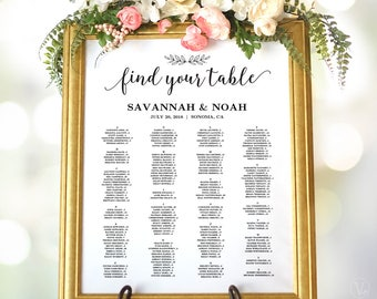 Wedding Seating Chart, Wedding Seating Chart Poster, Minimalist Elegant Seating Chart Signs, Modern Calligraphy, Editable, VW10