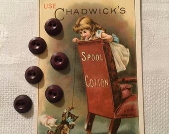 Vintage Buttons - Unusual Brown Bakelite Buttons Set of 6