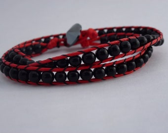 Red and black woven bracelet
