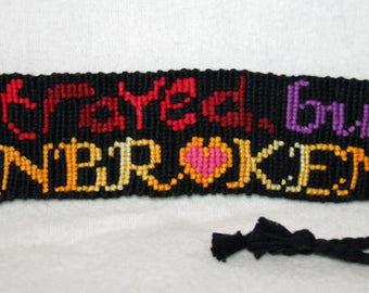 Woven Unbroken Quote Bracelet, Bookmark or Keychain