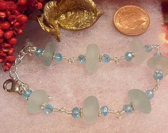 Gorgeous Aqua Blue Sea Glass Bracelet