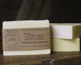 Organic Castile Soap | Organic Olive Oil Soap, Hypoallergenic Soap, Gentle Organic Soap, Moisturizing Soap, Unscented Soap, Vegan Soap