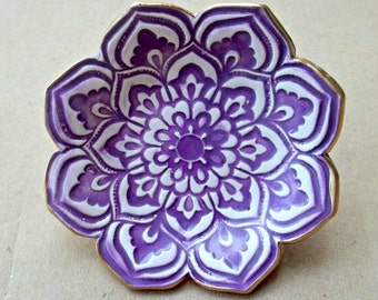 Purple Ceramic Lotus Ring Dish  Ring Bowl edged in gold