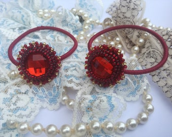 Bead embroidery 2 pcs Scrunchies Set, Beaded Hair Elastic Set, Embroidered Hair Accessory, Red Round Hair Tie, Beaded Pony Tail Holder