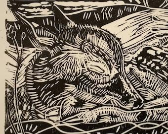 Sleeping Fawn. Unframed, original print