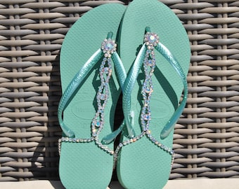 Lolabelles decorated bohemian Sage green Havaianas flip flop thong sandals with Swarovski crystal adjustable ankle bracelet