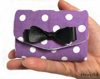 Coin purses-Smart Wallet-coin Purse-Cash System-purple Portaspicci with big white polka dots