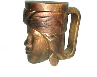 Vintage Handcarved Native Face Mug Cup Best Selling Home Kitchen Items 60s 70s 80s 90s