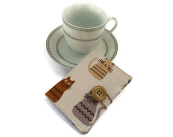 Tea bag Wallet, Tea bag case, Tea bag holder, Tea Carrier, Travel tea bag holder,  Tea Wallet Cats fabric, Tea party favor