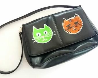 Hand Painted Original Cats Kittens Cat Lover's Liz Claiborne Black Handbag Women's Girl's Bag Purse