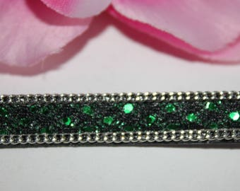 About 1 m cord leather artificial - SC63383 - shiny green 10mm