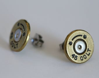 Bullet Earrings Starline 45 Colt Brass Studs made w/ Real BULLETS CASINGS Steampunk Victorian Jewelry Studs Surgical Steel Posts