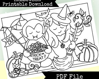 Halloween Trick or Treaters Printable Download Colouring Page